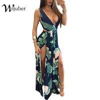 Weljuber Women Beach Backless Dress 2017 Print Boho Maxi Dress V Neck Elegant Dresses High Quality