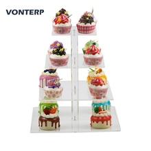 VONTERP 1 pc square transparent 4 Tier Acrylic Cupcake Display Stand /acrylic cake stand/acrylic holder for part wedding