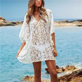 2017 Summer Beach Dress Lace Tunic Bathing Suit Crochet Pareo Beachwear Fashion Low Neckline Sexy Swimsuit