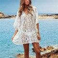 2017 summer beach dress lace crochet pareo túnica traje de baño ropa de playa de moda escote sexy traje de baño