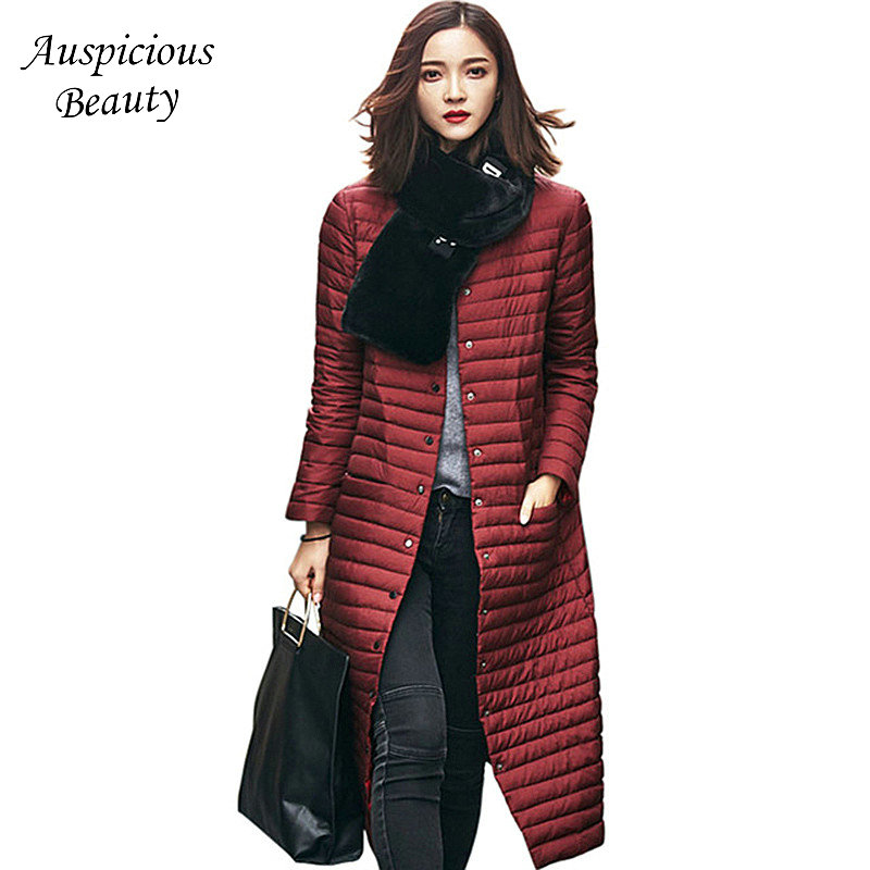 Women's Clothing Ultra Light Cotton-padded Jacket Women Long Single Breasted Coat Winter Brand Stand Collar Parkas Female TSL92