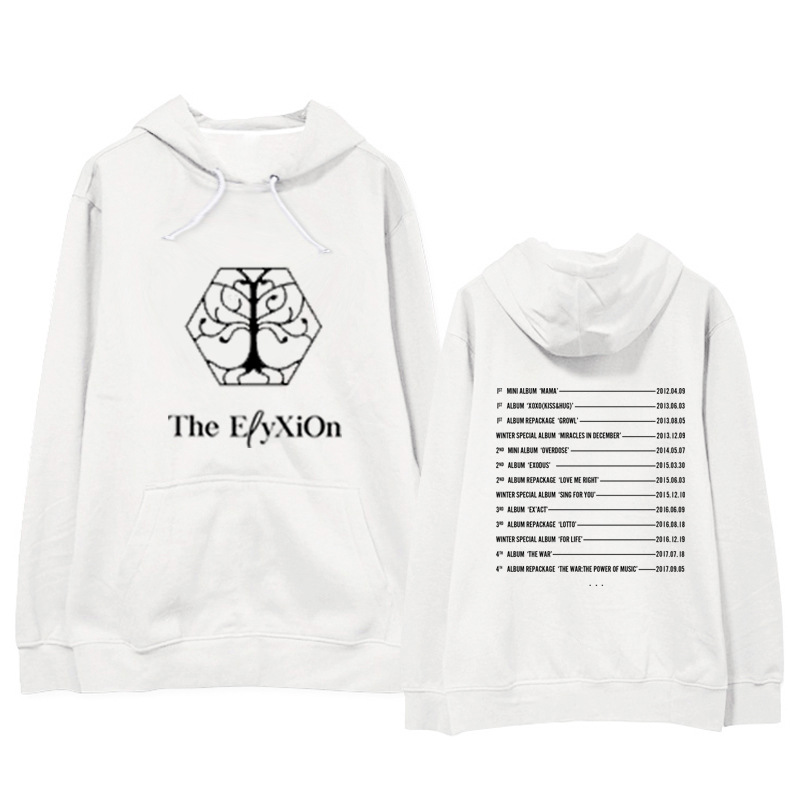 New Kpop EXO The Elyxion Same Album Cotton Suit Long Sleeve Sweatershirt Song Name Printed Hoody Outerwears Sueter With Hat Coat