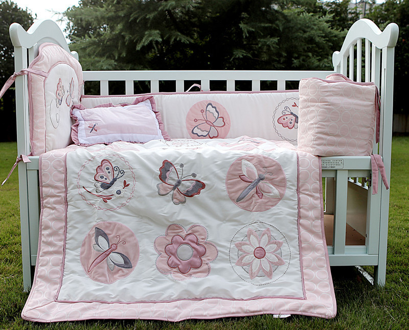 Embroidered Light Pink Flower Butterfly 3d cotton Baby ...
