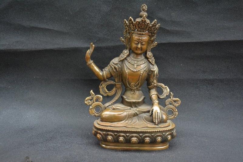 Antique collection vieux Tibet cuivre vert degré mère statue, meilleure collection et parure, livraison gratuite