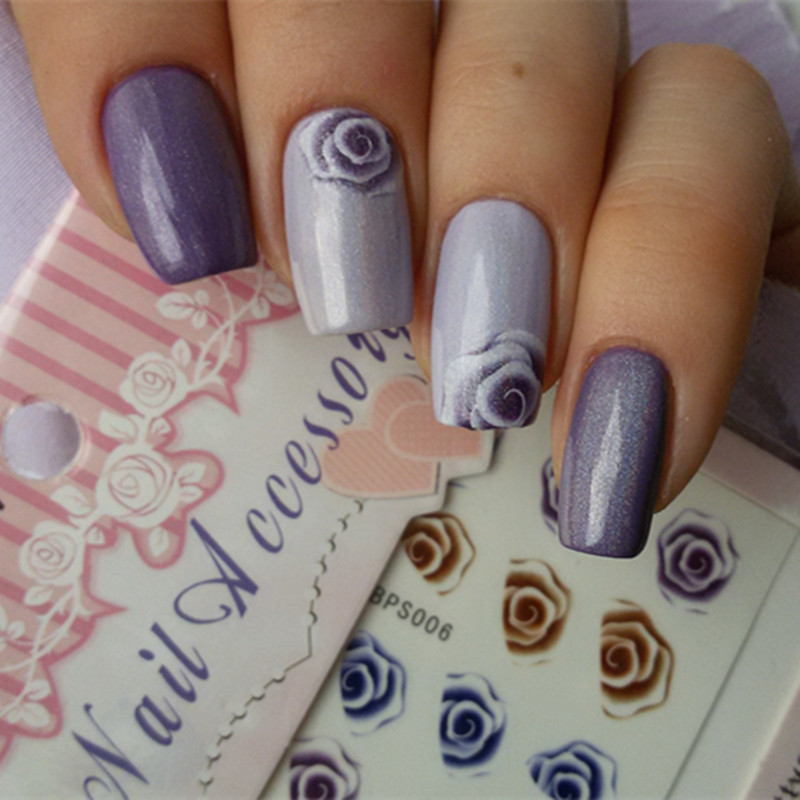 Rose Pattern  Nail Art Water Decals Charming Fantastic Transfer Sticker for Decoration Nails Y037 1pcs water nail art transfer nail sticker water decals beauty flowers nail design manicure stickers for nails decorations tools
