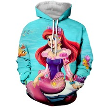 YX Girl Drop Shipping Womens 3d Clothes Mermaid Hoodies Hooded Sweatshirt Women Cute Hoodie Pullover Plus size