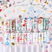 30 Uds. De adhesivos de uñas de Navidad, copos de nieve mixtos, patrón de Papá Noel y ciervo, arte de uñas, lámina deslizante de transferencia de agua, calcomanía CHSTZ77 808