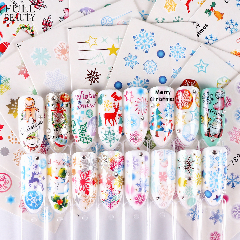 30pcs Christmas Nail Sticker Sets Mixed Snowflake Santa Claus Deer Pattern Nail Art Water Transfer Slider Foil Decal CHSTZ77-808