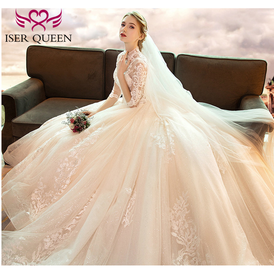 Image 3 - High Neckline Illusion Vintage Half Sleeves Fancy Embroidery Wedding Gown Sequined Backless Hollow Ball Gown Train Tulle WX0160-in Wedding Dresses from Weddings & Events