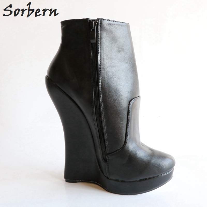 Shoes Plus Size Toe Ankle Zip NEW Heel Boots Platform Women/'s Wedge High Side