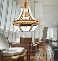 Dining Room Retro Copper Lighting Tiffany Pendant Light For Villa Vintage Pendant Lamps Bar Corridor Indoor