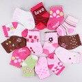 Retail 12 unids = 6 par/lote 2015 Recién Nacido Mini calzado cabritos del bebé antideslizantes calcetines infantiles, baby girls calcetines calcetines de bebé