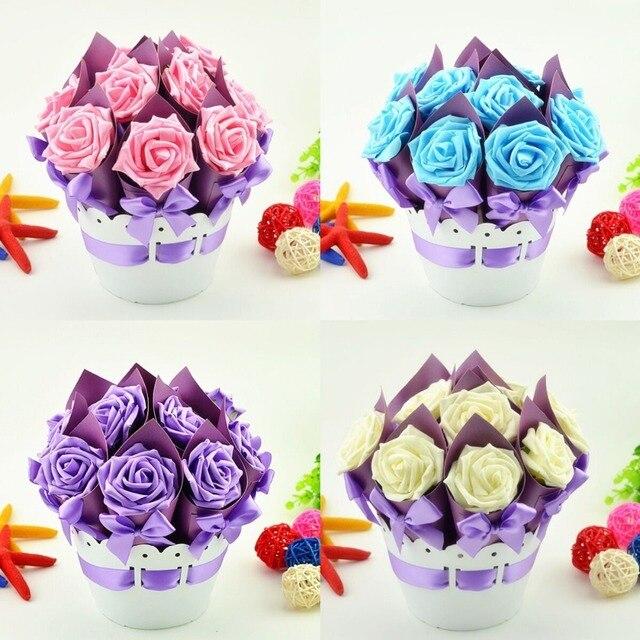 5 Sets Creative Flower Pot wedding favors gifts luxury rose ...