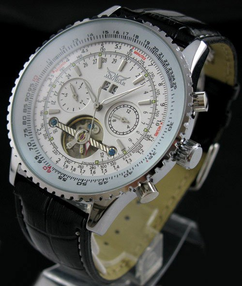 Mens AUTO Mechanical 5 Hands Multi Function Fashion Watch freeship