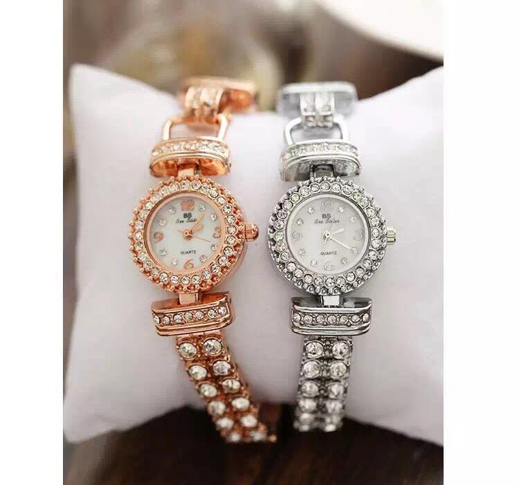 Hot Sale BS Brand Rose Gold Full Crystal Band Women Wrist watch Lady Double Gold Chain Dress Watch Rhinestone Bangle bracelet spring big sale brand bs luxury 14k gold diamond women watch lady gold siliver dress watch rhinestone bangle bracelet