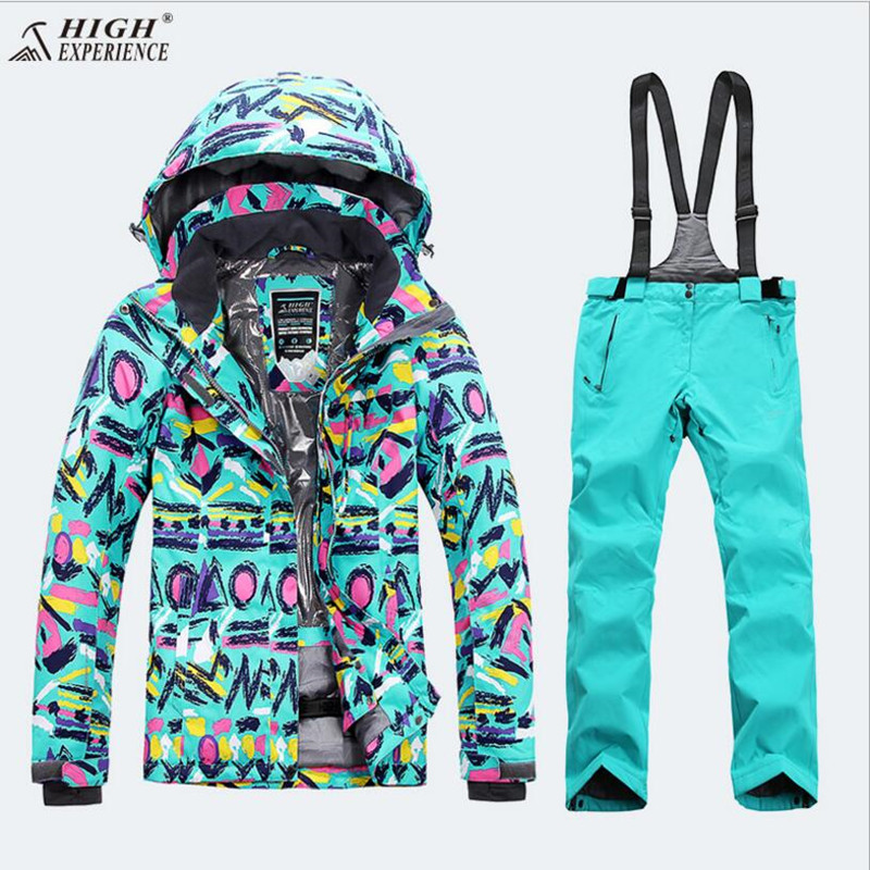 High Experience Women Ski Suit Snowboard Suit Outdoor Sport Wear Skiing Riding Jacket Pant Windproof Waterproof Female Warm Suit le suit women s water lilies woven pant suit with scarf