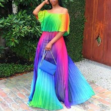 Women Rainbow Slash Neck Pleated Dress Casual Elegant Off Shoulder Maxi Beach Loose Boho