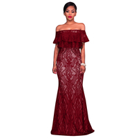 Ruin 2017 Women Floral Lace Dress Long Sleeve Slash Neck Off Shoulder Wedding Vestido Festa Sexy