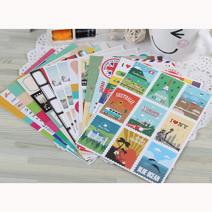 24 Sheets Lot Diy Scrapbook Vintage Travel Stamps Stickers For