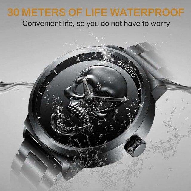 Gimto Unique Design Skull Waterproof Men Quartz Watches 1
