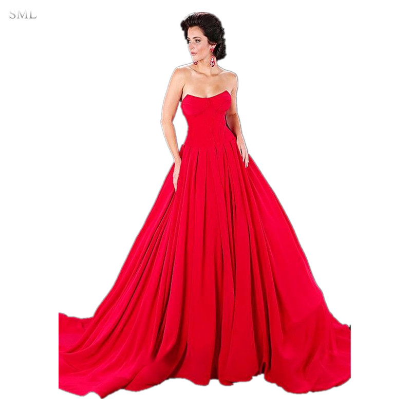 SML Simple Elegant Red A Line Prom Dresses Strapless Puffy ...