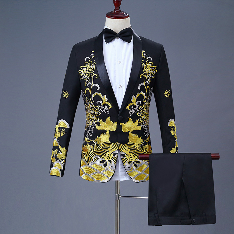 Fashion Shawl Lapel Black Embroidered Prom Tuxedo Dress Suit Men Stage Singer Costume Homme Mens Suits With Pants For Wedding