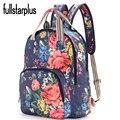 Fulltarplus Lona de Alta Qualidade Mochila Grande Impressão Flor Forma Fresco saco Colégio mochilas vintage para a escola mulheres