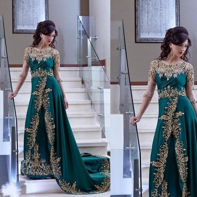 Elegant Arabic Dubai   Evening     Dresses   Half Sleeve Green Party Gown Satin   Dress   With Appliques abiye gece elbisesi