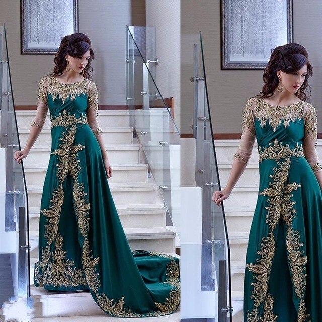 Robe de soirée élégante arabe dubaï demi manches robe de soirée verte robe en Satin avec Appliques abiye gece elbisesi