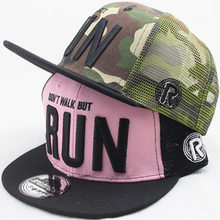 5e6b9d32977 Unisex Kids Mesh Snapback Hats Children Letter RUN Embroidery Baseball Cap  Hip Hop Sun Hats Boys Girls Summer Cool Caps