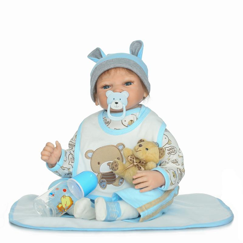 New 22'' Reborn Boy Soft Silicone Doll Touch Real Reborn Baby Dolls with Suck Pacifier Fashion kids Playmates Toy Birthday Gifts npkcollection fashion reborn baby doll 22 with free pacifier safe soft silicone model baby reborn with clothes kits xmas gifts