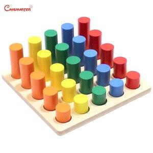 Image 1 - Montessori Sensoiral oyuncaklar geometrik adım silindir matematik yeni yürümeye başlayan çocuklar Kingarten renk eğitim eğitici oyuncak çocuklar için
