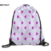 3D Print Grape Pattern Shoulders Bag Women Fabric Backpack Girls Beam Port Drawstring Travel Shoes Dust