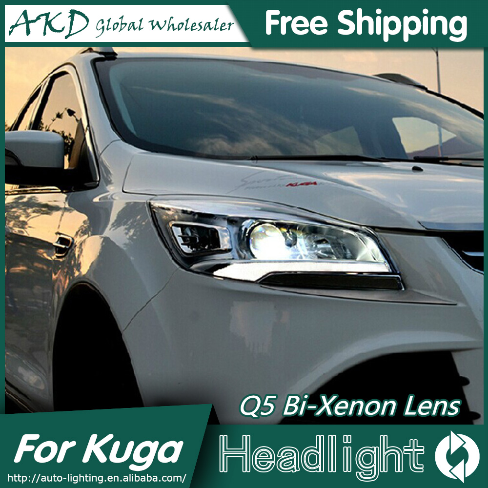 AKD Car Styling for Ford Kuga Headlights New Escape Original LED Headlight DRL Bi Xenon Lens High Low Beam Parking Fog Lamp union car styling for ford fusion headlights 2013 2015 new fusion led headlight original drl bi xenon lens high low beam parking