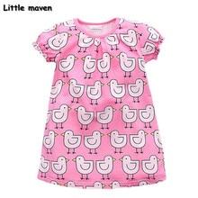 Peu maven enfants marque vêtements 2017 new summer bébé filles vêtements enfants Coton petit canard imprimer fille rose robe S0006
