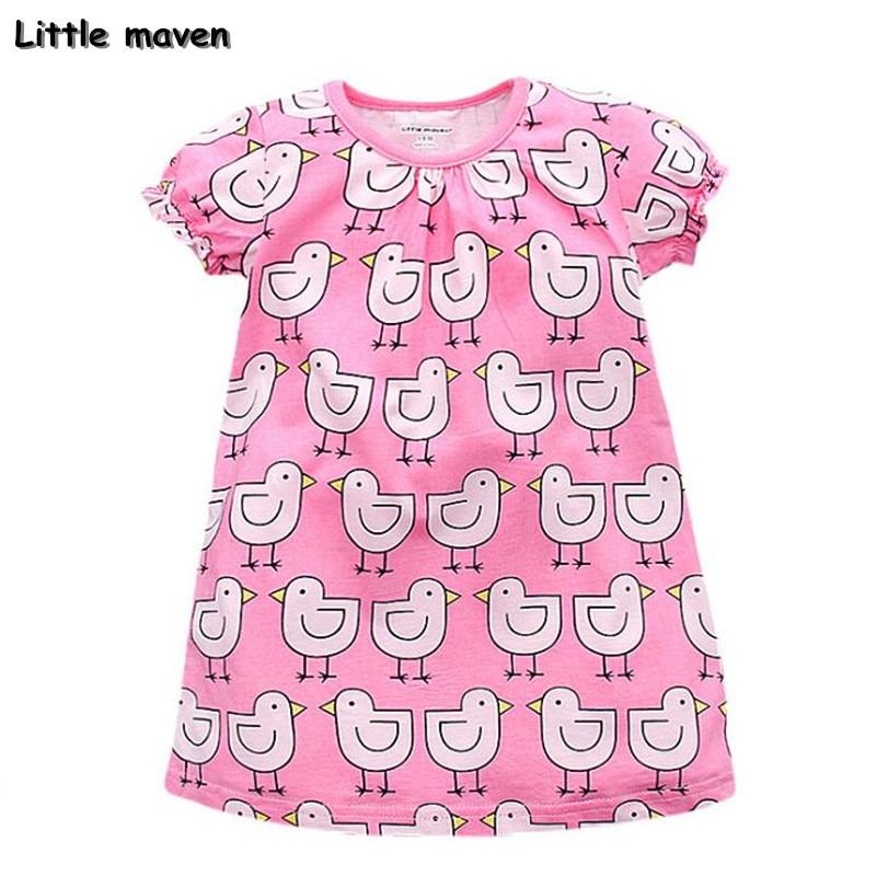 Little maven dětské značkové oblečení 2018 nové letní holčičky oblečení děti Bavlna malá kachna tisk dívka růžové šaty S0006