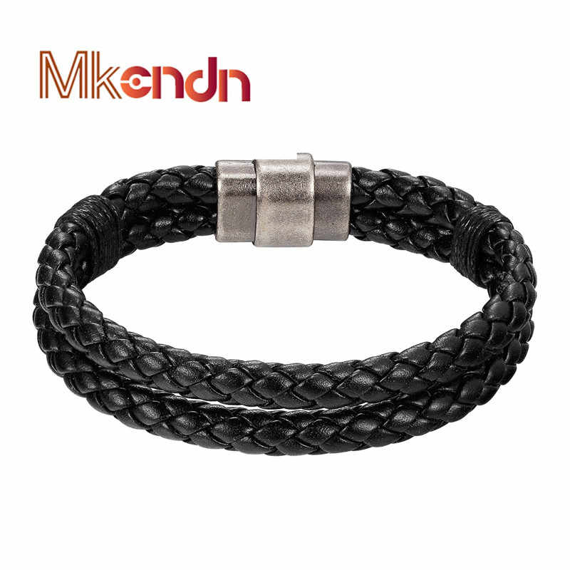 MKENDN FASHION Cool Men Jewelry Multilayer Leather Bracelets Male Vintage Magnetic Buckle Bracelet pulseras hombre