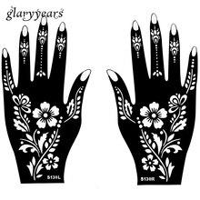 Hot 1 Pair Indian Henna Tattoo Stencil Plant Flower Pattern Design For Women Hands Art Airbrush Paint Tattoo Template S130