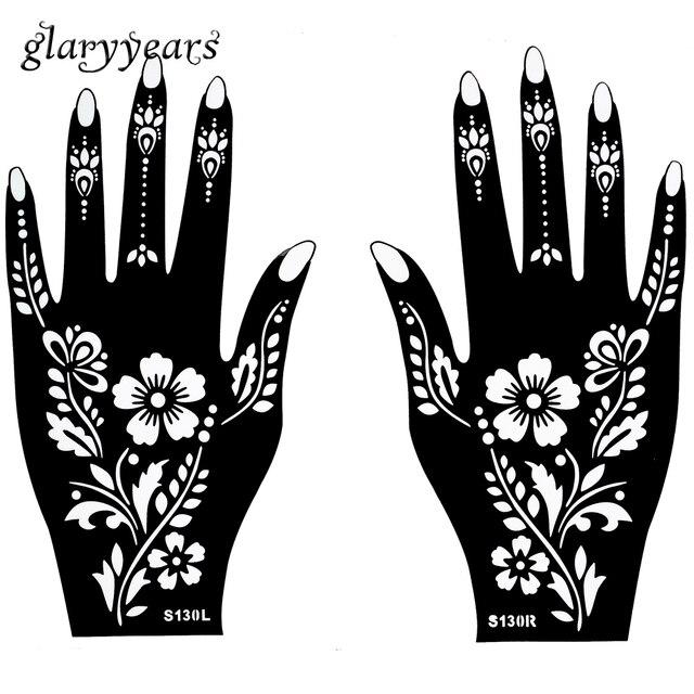 Caliente 1 Par Indian Henna Tatuaje Stencil Planta Flor Patron De