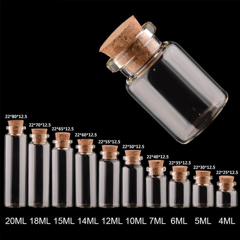 Mini Message Vials Bottle Cork Stopper Cheap  DIY Small Glass Jars Mason Jar 1PC