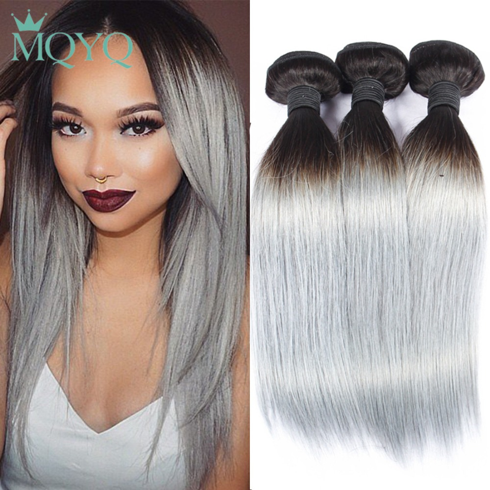 MQYQ Pre colored 1B Grey Remy Hair Extensions Human Hair Weave 3 Bundle Deal Grey Ombre