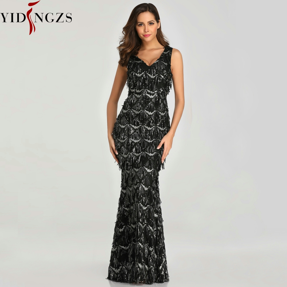 Image 2 - YIDINGZS Black Sexy V neck Tassel Sequin Sleeveless Prom Dress Women Elegant Long Party Dress YD633-in Prom Dresses from Weddings & Events