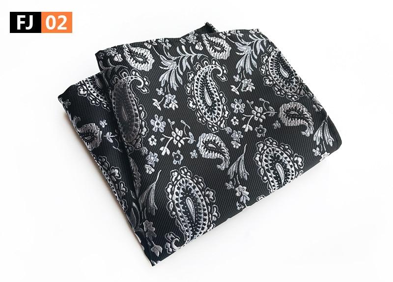 25x25cm Big Size Men Pocket Square White Black Paisley Handkerchief
