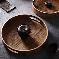 Круглый сервировочный бамбуковый деревянный поднос для лотки для еды чайный бар еда на завтрак контейнер ручка лоток для хранения