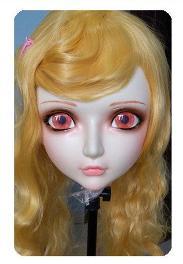 dm029 Women/girl Sweet Resin Half Head Kigurumi Bjd Mask Cosplay Japanese Anime Lifelike Lolita Mask Crossdressing Sex Doll Without Return Hearty