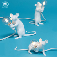Vintage Resin Seletti Mouse Desk Lights Industrial Retro Animal Art Mouse Table Lamp Bedroom Cafe Bar Decorate Table Lighting