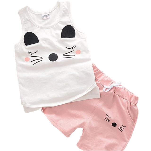 404fe900c7458 US $6.63 5% OFF|2017 Brand Baby girl boy clothes infant sets Summer  sleeveless outfits set Baby Boys Girls Kids short baby cool clothing  Suits-in ...