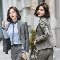 2018 Women's Fall Winter Fashion Elegant Plaid Top Jacket Tops coat Pants Suit Trousers and Blazers Office Uniform Ladies Lady