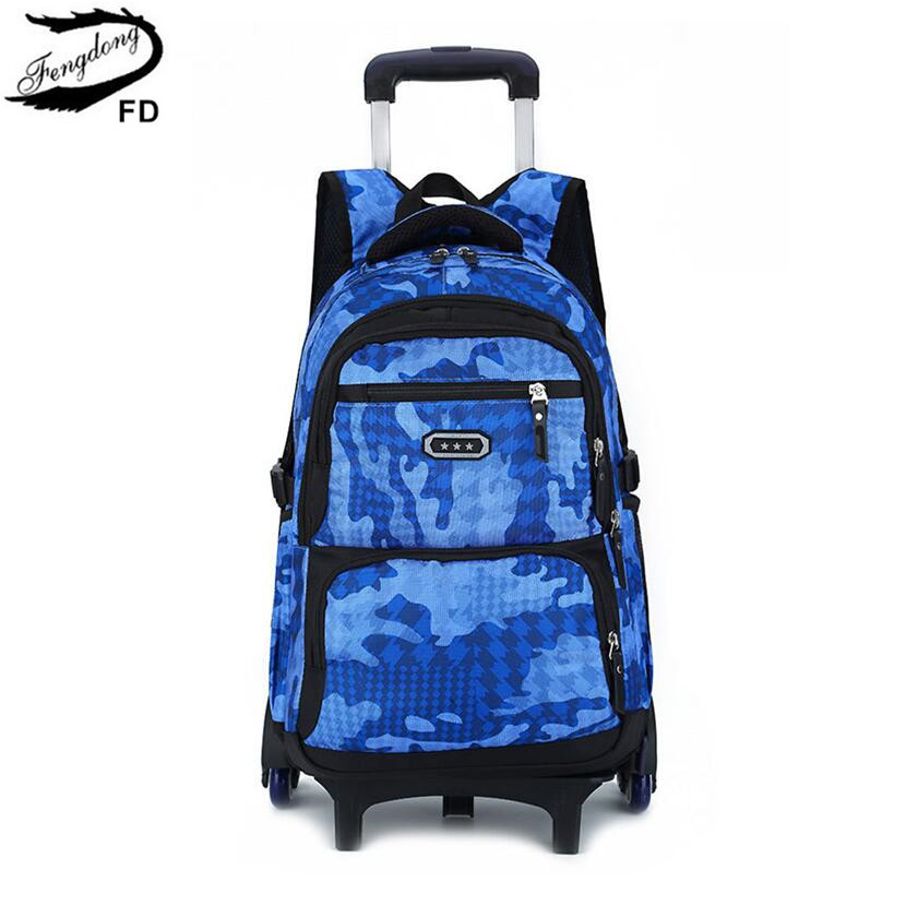 FengDong child detachable wheel bag primary school bags for boys childrens waterproof school backpack rolling trolley bag pack ...