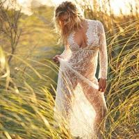 White Lace Long Dresses Deep V